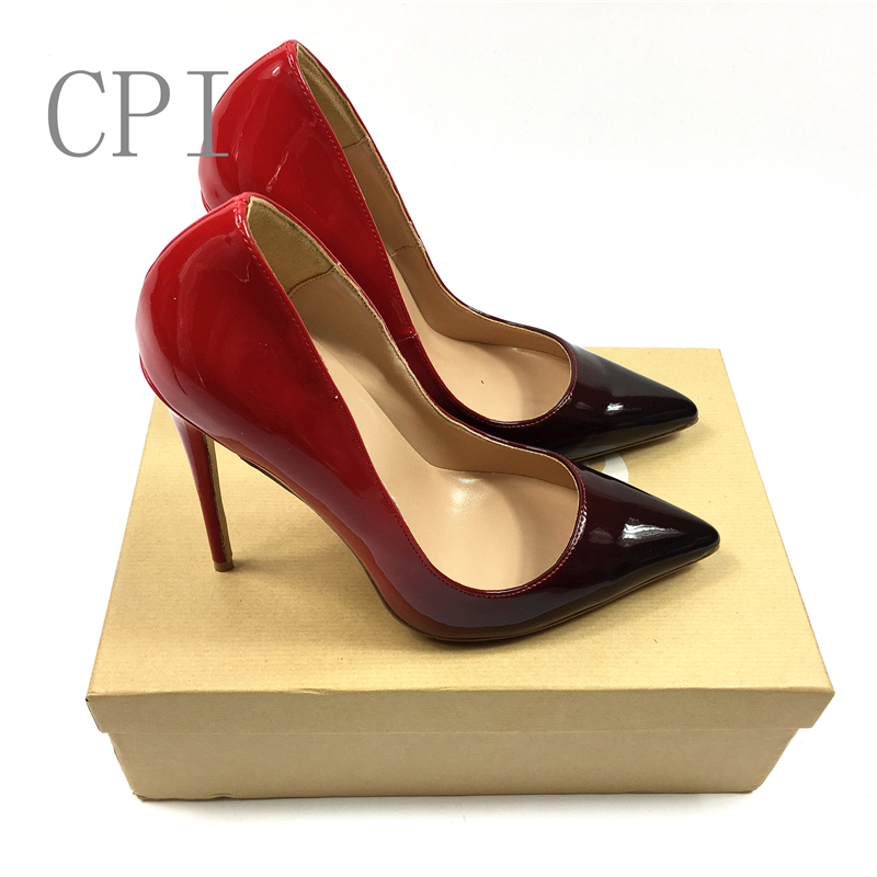 Brand Black/Red Patent Leather Sole Bottom Thin High Heels Women Pumps Pointed Toe Wedding Shoes Woman Stilettos with box canvas shoes women black red jazz shoes ballet dance shoes split heels sole sl02138b2