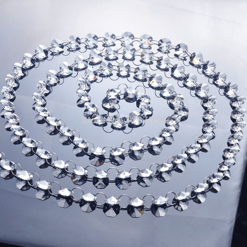 6.8Fetet Glass Crystal Prism 14mm Octagon Chandelier Chandelier Parts Լուսավորող պարագաներ Garland Strand Վարագույրների ցանց