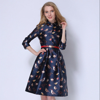 2015 Spring Autumn Birds Print Casual Midi Office Dress Plus Size Three Quarter Tunic High Class