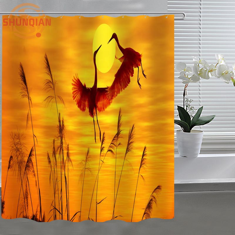 sunset and birds Custom Shower Curtain Fabric polyester Bath Curtain beautiful H03be26-132