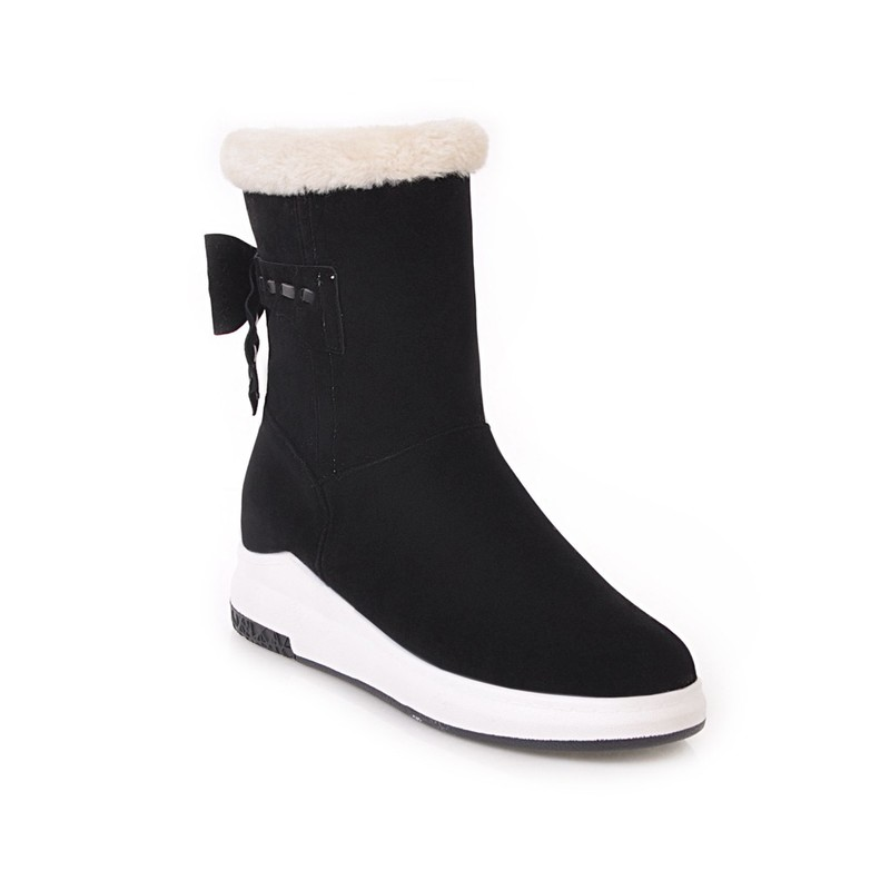 QZYERAI New arrival winter warm snow boots women boots flat fur snow boots rear bow women shoes size 34 43 in Ankle Boots from Shoes
