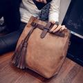 2016 Fashion Tassels Women Handbags Famous Brand Women Bucket bag High Quality Shoulder Messenger Bags Female leather Women Bag