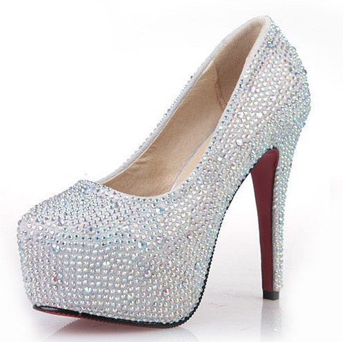 New Fashion 2013 Women's Silver Rhinestone Prom Pumps High Heel ...