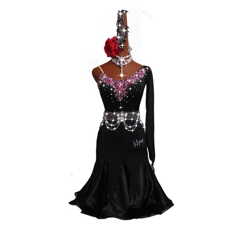 Sexy Latin Dance Dress Ballroom Fringe Skirt Rhinestones Rose Red Embroidery Customize Latin Dance Competition Dresses Women