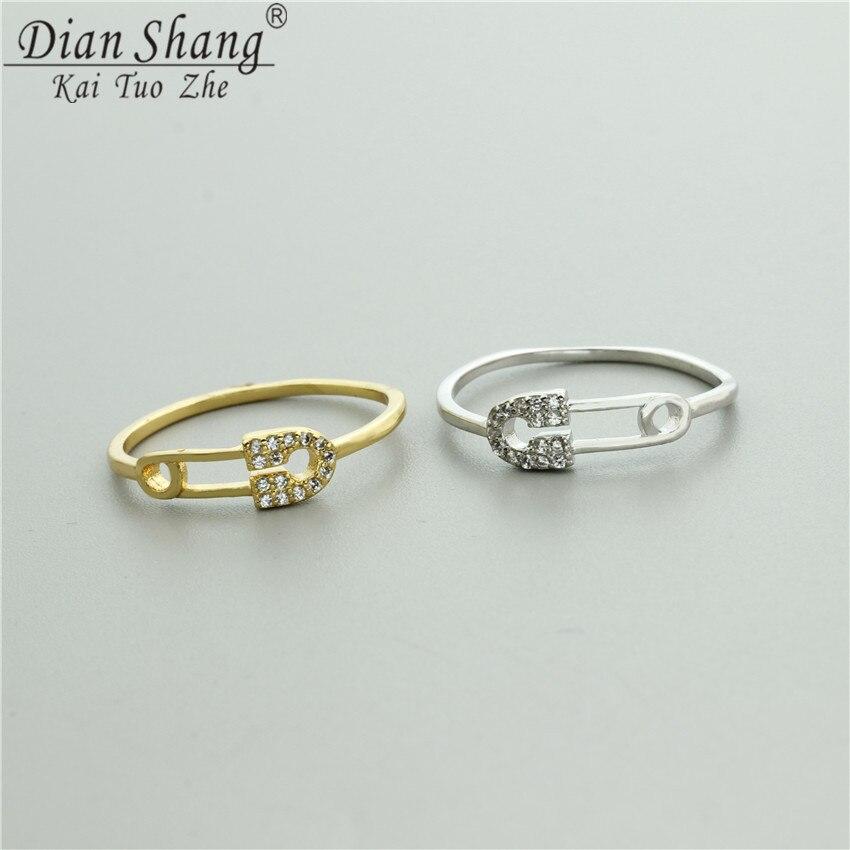 DIANSHANGKAITUOZHE 10Pcs Classic Vintage Style Safety Pin Ring Women Dancing Party Jewelry Shining Jewel Finger Ring Girl Gift