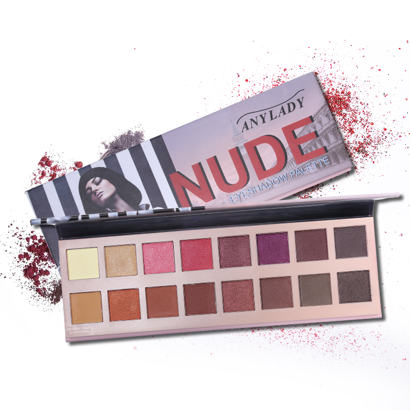 Anylady 16 Color Nude Eyeshadow Palette Matte Shimmer Eye Shadow Earth Color and Wine Red eye shadow