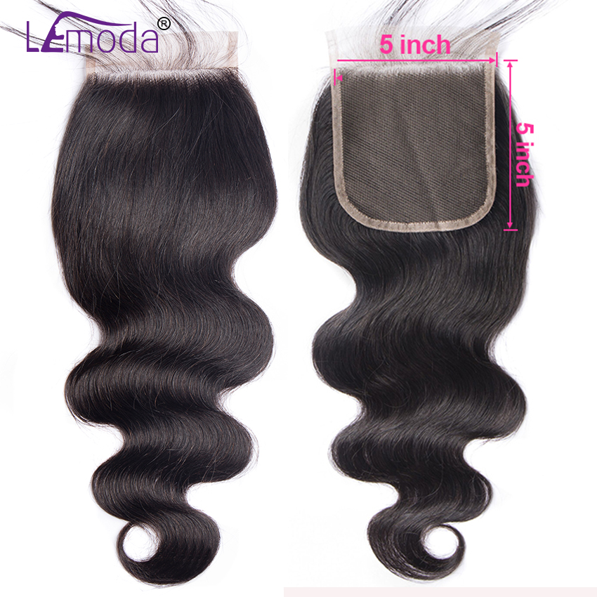 5X5 Lace Closure Brazilian Body Wave Human Hair Closure With Baby Hair Free Three Middle Part Swiss Lace Closure Remy Hair