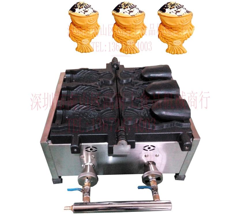 Free shipping Gas type ice cream Taiyaki machine  fish waffle machine 3 pcs edtid new high quality small commercial ice machine household ice machine tea milk shop
