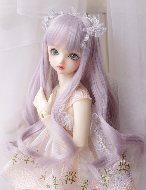 BJD doll wigs gray purple mixed long curly hair wigs for 1/3 1/4 1/6 BJD DD SD MSD YOSD doll High-temperature wire hair wigs synthetic bjd wig long wavy wig hair for 1 3 24 60cm bjd sd dd luts doll dollfie cut fringe
