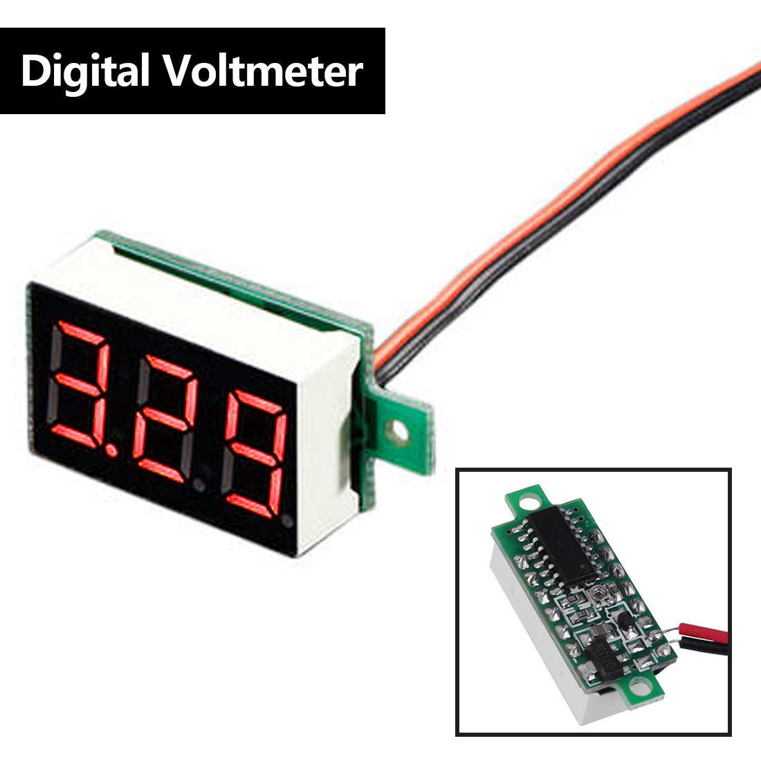 Voltmeter Voltage Tester Panel Meter Gauge 1pc LCD Digital Voltmeter Red LED Voltage Meter DC Amp Volt Meter Gauge nobrand rakbro60r