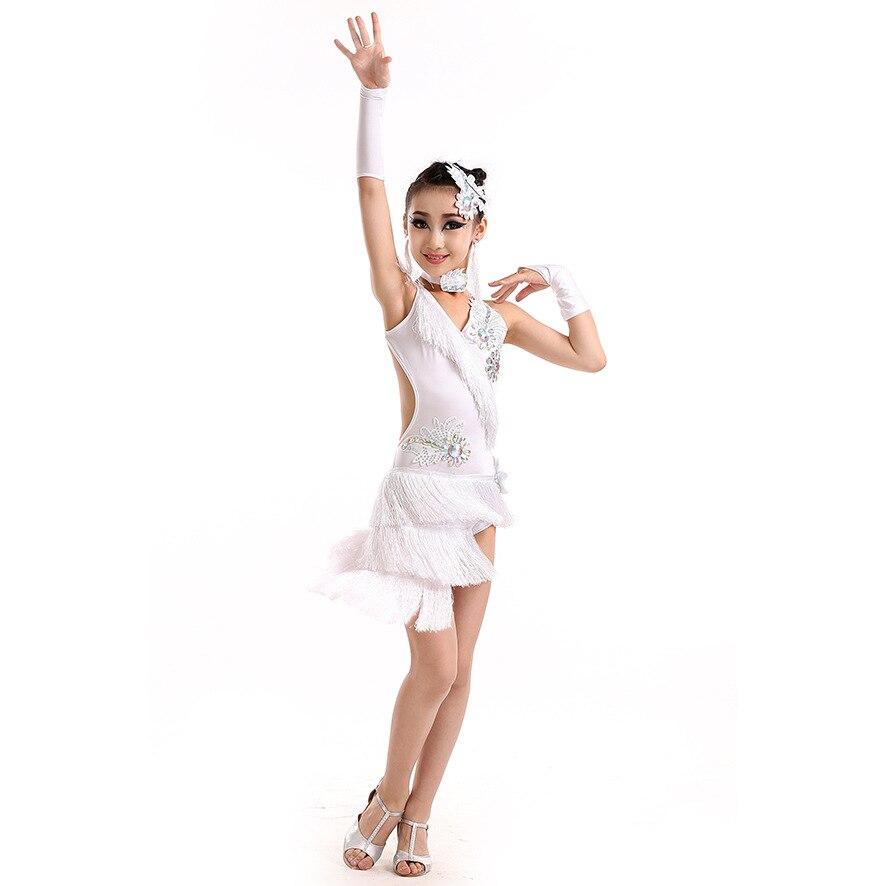 Blusa Feminina Sociale Salsa Dance Abiti Bambini Costumi Da Ballo Samba Vestito  Da Ballo Latino Americana Ragazze Nappa Latino Abito Frangia in Blusa ... c65eae10ee6