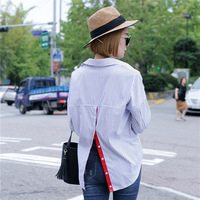 Hot Selling Spring Women Tops Turn Down Collar Long Sleeve Blouses Red Ribbon After Open Front