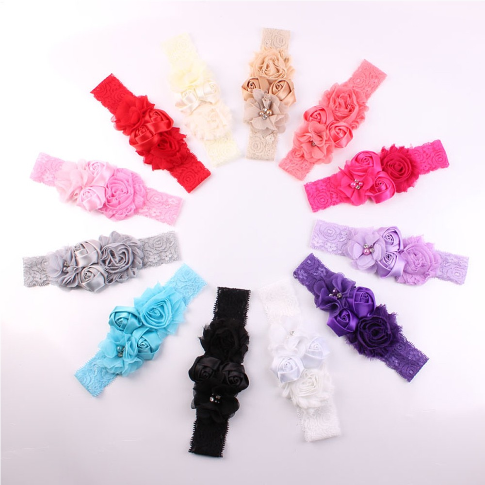 Creative Rose Flower And Chic Lace Design Girl Headband Hair Accessories Headdress Bow Infant Baby Hair Headband Gifts