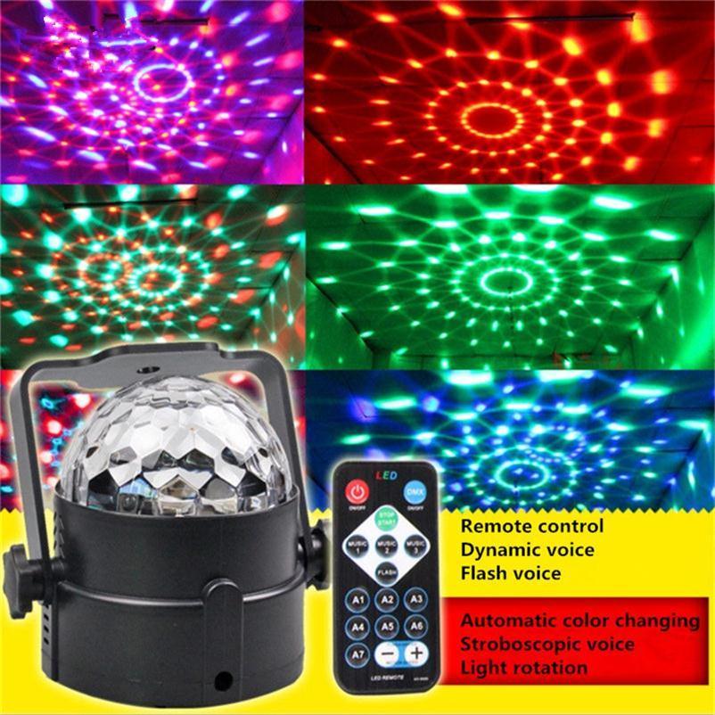 DMX Control Digital Mini RGB Stage Lights RGB Crystal Magic Ball Effect Lamps Wedding Party Disco DJ Bar Lighting EU US Adapter