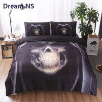 AHSNME Skull Bedding Set Skeleton with Hat Jogo de Cama King Queen Single Size Adults Bed Set Horror Black Bedclothes