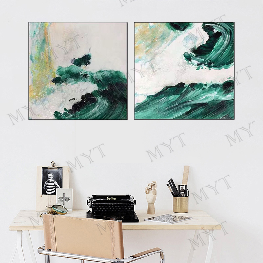 Us 23 55 35 Off Impression 2 Pcs Abstract Green Famous Landscape Oil Painting On Canvas Art Poster Print Wall Picture For Living Room Home Decor In