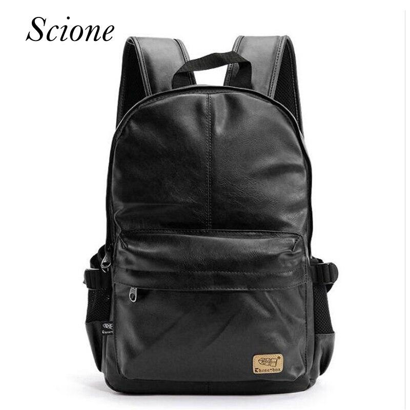 Fashion Brand Vintage Men Business <font><b>Backpacks</b></font> <font><b>Leather</b></font> School bag for teenager Casual Laptop Travel shoulder bags mochila Rucksack