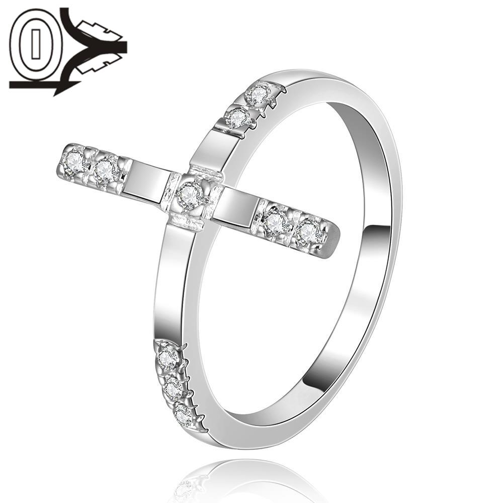 Christmas Gift Wholesale Silver-plated Ring,Silver Fashion Jewelry,Women Gift Europe Cross Shape CZ Silver Finger Rings