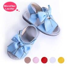 Pettigirl sandales dété pour petites filles, chaussures de plage à nœud papillon en cuir microfibre souple, sans boîte, taille américaine