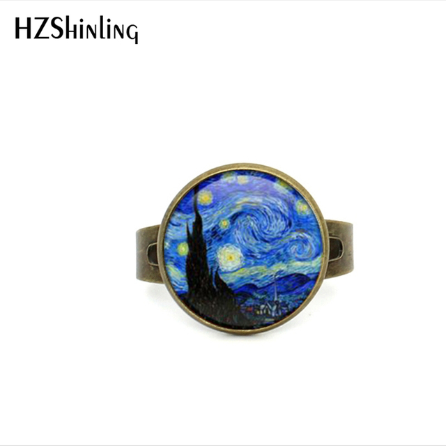 2017 New Glass Dome Rings The Starry Night by Vincent Van Gogh 1889 Handmade Kee