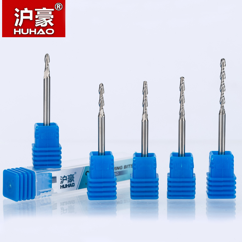 HUHAO 1pc 3.175mm ball nose end mills 2 Flute Spiral CNC router bits for wood tungsten carbide milling 3A Top quality route tool  huhao 1pc 6mm one flute spiral engrving bits cnc end mill tungsten carbide router tool pcb milling cutter router bits for wood