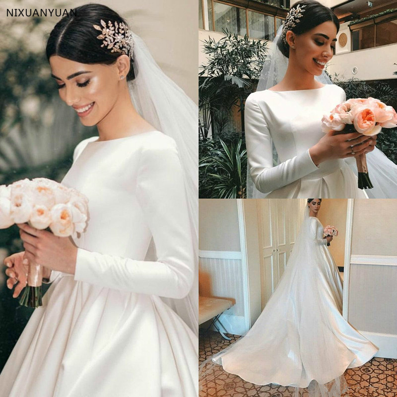 Elegant Satin Wedding Dresses Vestido De Noiva Long Sleeve Beach Wedding Dress CustomMade Bride Gowns