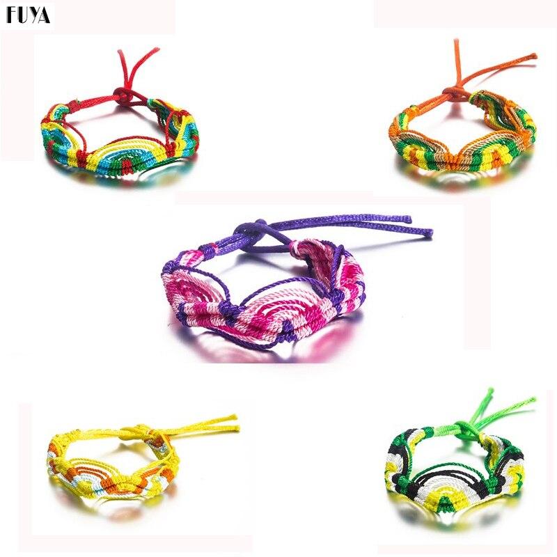 10 Style Colorful Weave Handmade Bracelets&Bangles Braided Rainbow Rope Chain Adjustable Warp Bracelet For Women Fashion Jewelry