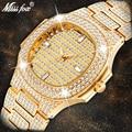MISSFOX Брендовые Часы Кварцевые женские золотые модные наручные часы со стразами из нержавеющей стали женские наручные часы для девочек женс...