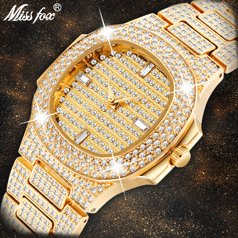 MISSFOX Brand Watch Quartz Ladies Gold Fashion Wrist Watches Diamond Stainless Steel Women Wristwatch Girls Female Clock Hours