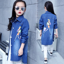 New Girls cowboy shirt Long sleeve Cartoon kids denim jacket girls Youth Casual Long denim Shirt 5 6 7 8 9 10 11 12 13Years long sleeve patch design suede insert denim shirt