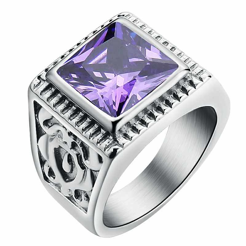 Men's Square Purple CZ Zircon Ring Fashion Wedding Band Red/White /Black Stone Ring Gold Stainless Steel Rings Jewelry for Man