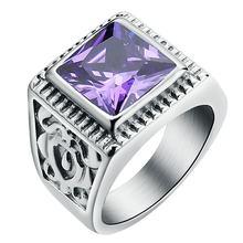 Мужское кольцо с фиолетовым фианитом свадебное красным/белым/Черным