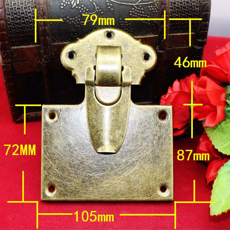 Antique Iron Jewelry Box Padlock Hasp Locked Wooden Wine Gift Box Handbag Buckle Hardware Accessories,Bronze Tone,105*133mm,1Set charm with lock buckle trumpet thickened wooden padlock hasp lock buckle buckle piece luggage accessories wooden doors