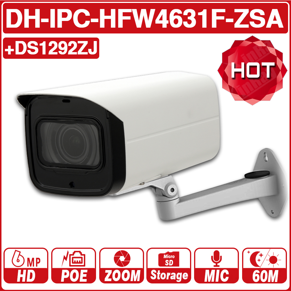 DH IPC-HFW4631F-ZSA IPC-HFW4631F-ZAS 6MP 5X IP Camera 2.7 ~ 13.5 milímetros Zoom Bala 60 M IR Slot Para Cartão Micro SD áudio IP67 IK10 com logotipo