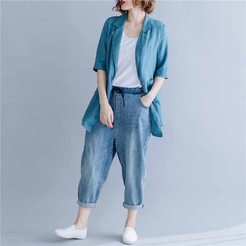 Plus Size Women Fashion Vintage Cotton Linen Blazer Jacket 2019 Summer Korean Solid Color Half Sleeves Ladies Suit Coat