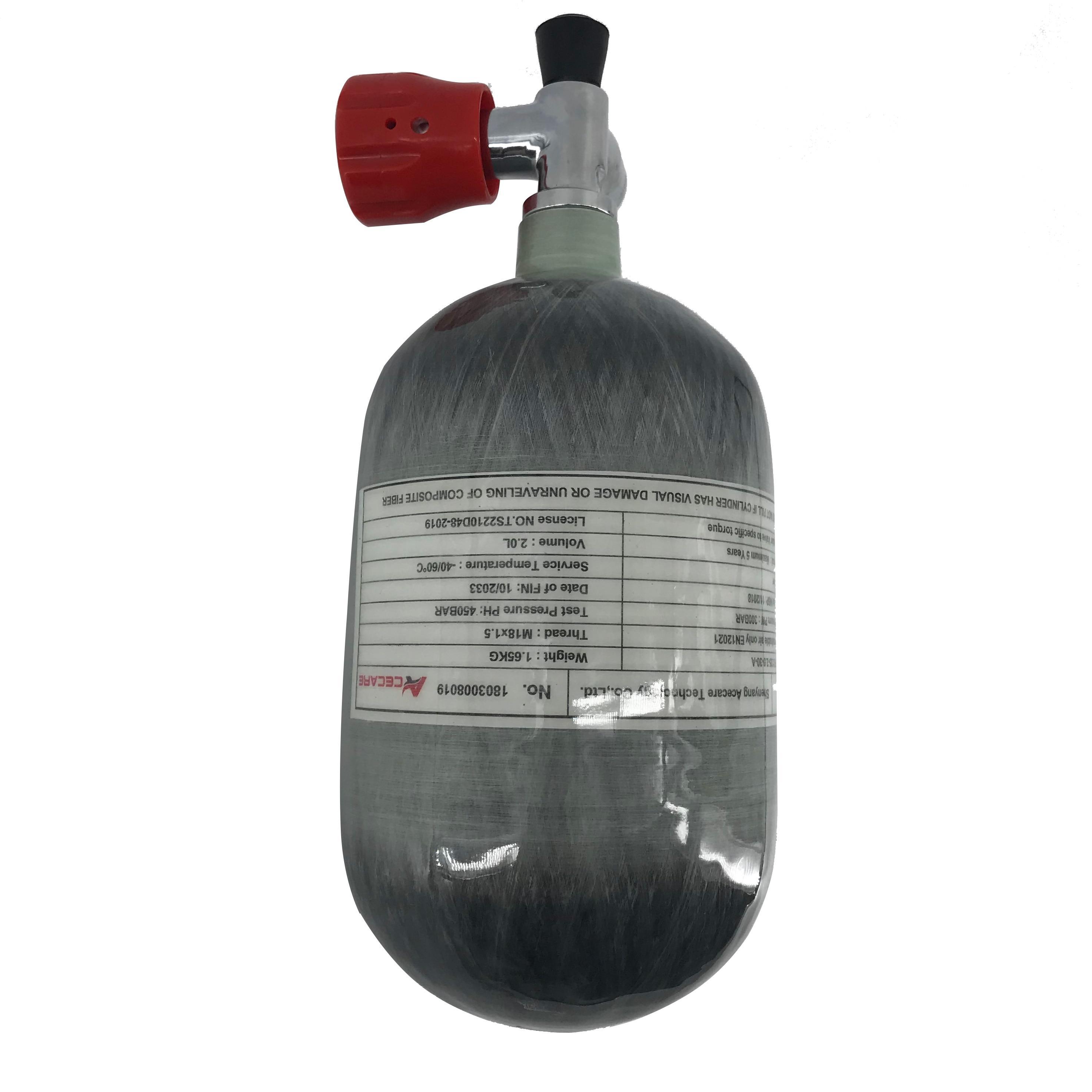 AC52011 Acecare 2L Air Rifle Paintball Pcp Air Tank Mini Scuba Pcp Carbon Fiber Gas Cylinder Diving Tank 4500psi Pcp/Gauge Valve