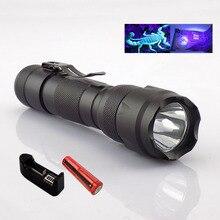 Portable Ultra Violet 395nm uv Flashlight purple linternas flash Torch Light ultraviolet backlight with 18650 battery charger