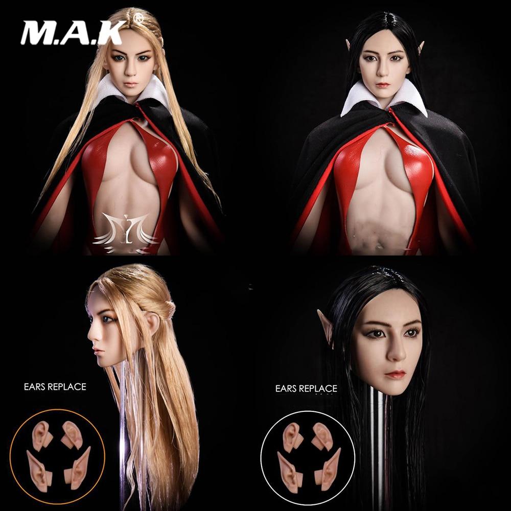 1 6 Female Head Carving Elf Girl Head Carved Black Blond Hair Detachable Ears Sculpt Model
