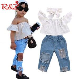 R & Z Vestiti per Ragazze Set 2019 Ins Senza Spalline Moda Bianco Magliette e camicette + Rotto Foro Dei Jeans 2 pcs Vestiti per Bambini abbigliamento per bambini k1(China)
