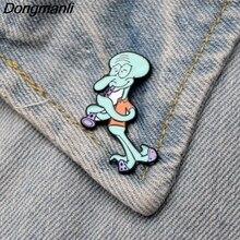DMLSKY Squidward Tentacles Enamel Pin Brooches Badges for Clothing Metal Cute Pins Cartoon M2711