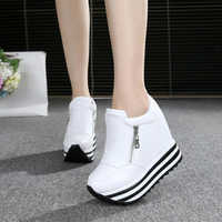 WGZNYN Spring autumn Wedges Shoes Woman Platform Sneakers Zipper Shoes Hidden Heel Height Increasing Casual Shoes For Women W405