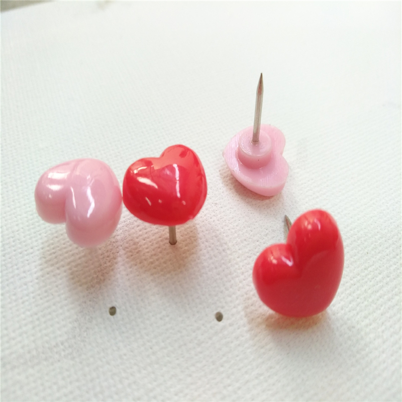 50PCS Heart Push Pins Creative Heart-shaped Pushpin Cute Pink/Red Push Pins Thumbtack School Accessories Office Supplies