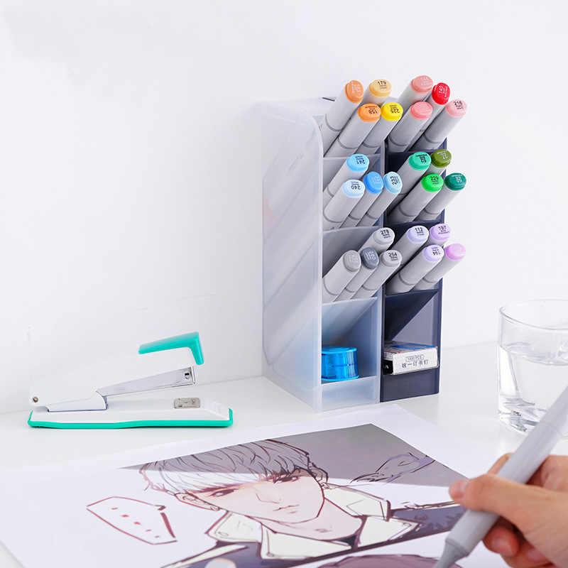 EZONE 4 شبكات حامل قلم مقلمة أسود أبيض بسيط نمط صندوق القلم صندوق تخزين مكتبي القرطاسية مدرسة مكتب لوازم هدية