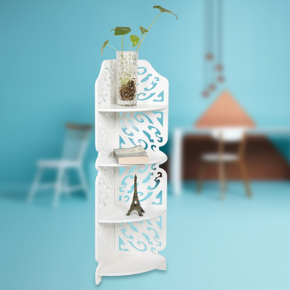 WPC Board 4 Tier Bathroom Wall Mounted Corner Shelf/ Shelves Display ...