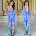2016 European and American Fashion Printing Wide-legged Pants Conjoined Suits Hanging Neck Foreign Trade Jumpsuits