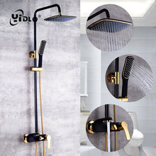 YiDLon Shower Faucet Brass Black Wall Mounted Bathtub Faucet Rain Shower Head Square Handheld Slide Bar Bathroom Mixer Tap Set zgrk shower faucets brass golden wall mounted rainfall bathroom faucet big round shower head handheld bathtub mixer tap set
