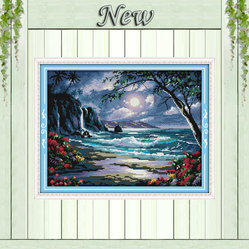 The Beautiful Scenery sea of the moon,11CT printed on canvas DMC 14CT Cross Stitching kits,needlework embroidery Sets,Home Decor