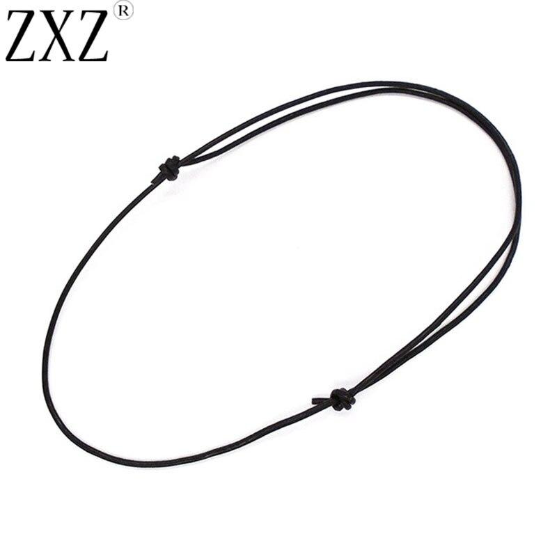 ZXZ 10pcs Adjustable Choker Necklace 1.5mm Genuine Black