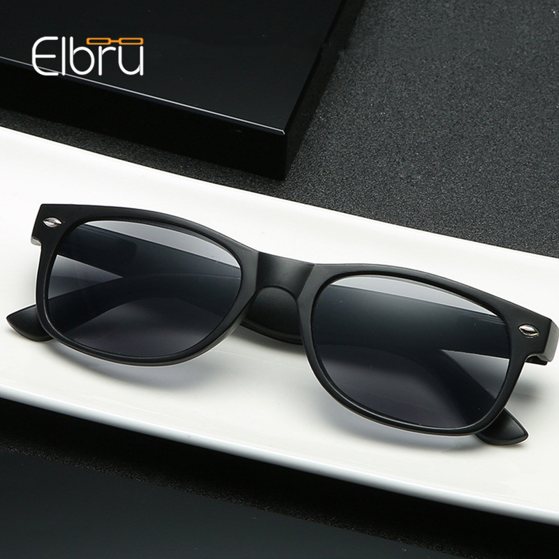 Elbru Classic Reading Glasses Grey Lens Fashion Men And Women Spring Hinge Plastic Presbyopia Glasses Outdoor Fishing Sunglasses