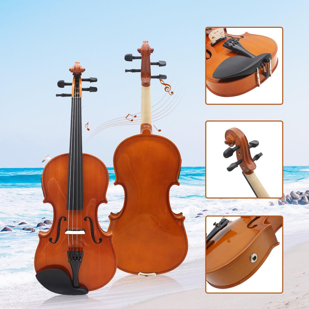Full Size 4/4 Solido Tiglio Elettrica Acustica Violino Con Custodia Del Violino Arco Colofonia Stringhe Accessori